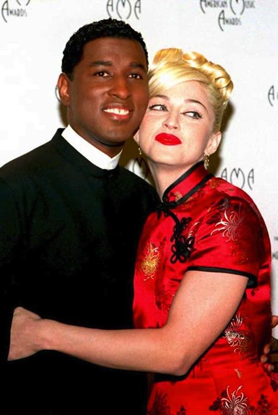 Soul singer Babyface (L) and Madonna pos