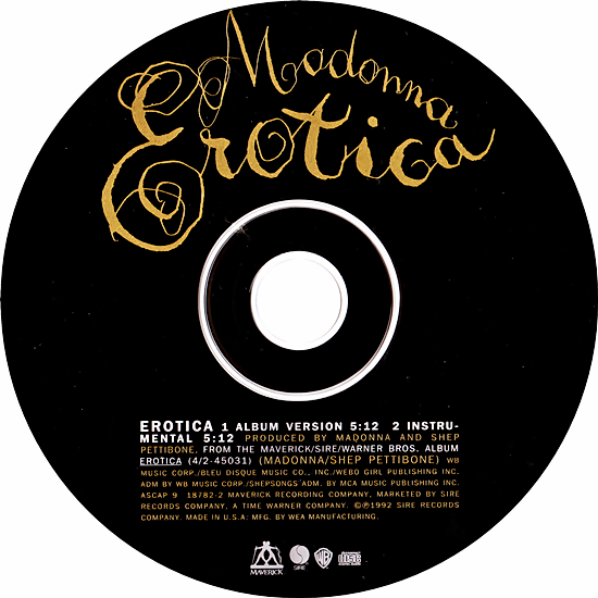 Erotica US CD Single Disc 550
