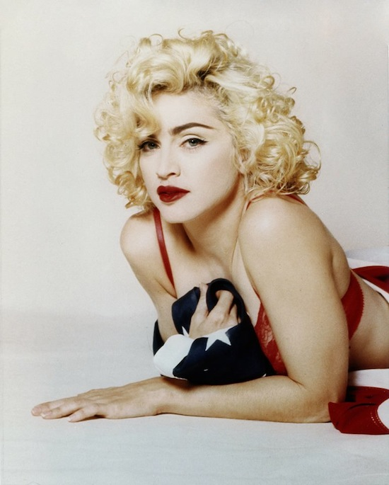 Image result for MADONNA WRAPPED IN US FLAG