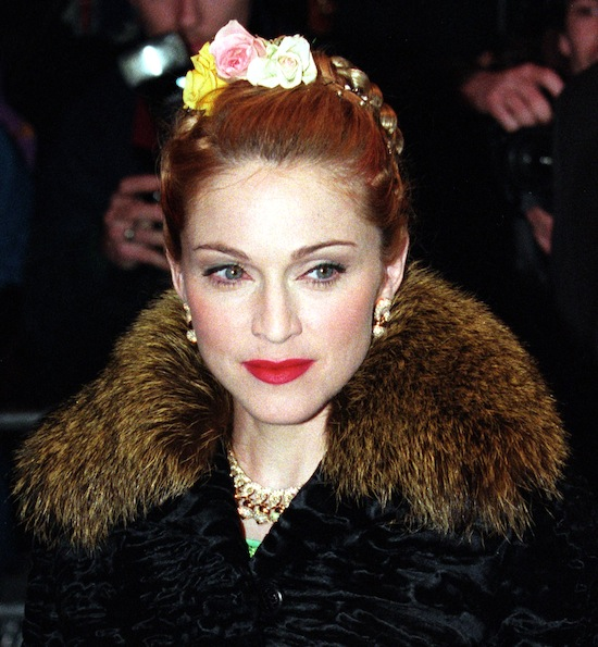 File photo of actress and pop star Madonna arriving for the premiere of the movie 'Evita' in which she plays the lead role of Eva Peron in Leicester Square, London