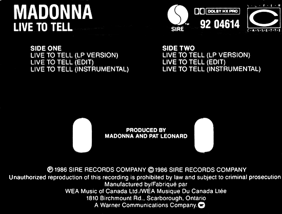 Live To Tell - Canadian CMS - Back Sleeve
