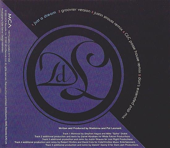 Just A Dream UK cd promo inside cover
