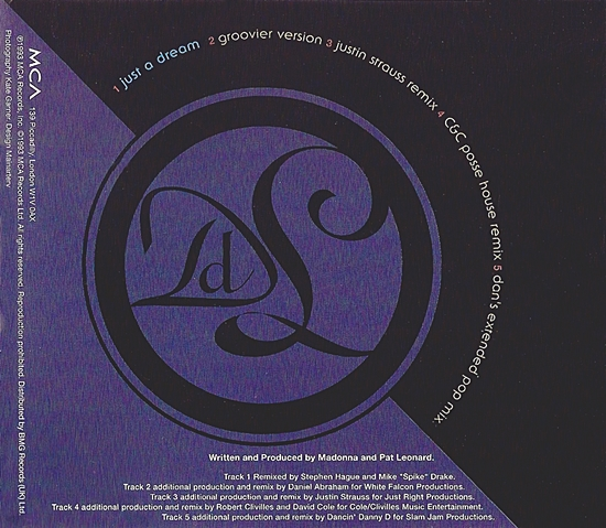 Just A Dream UK cd promo inside cover