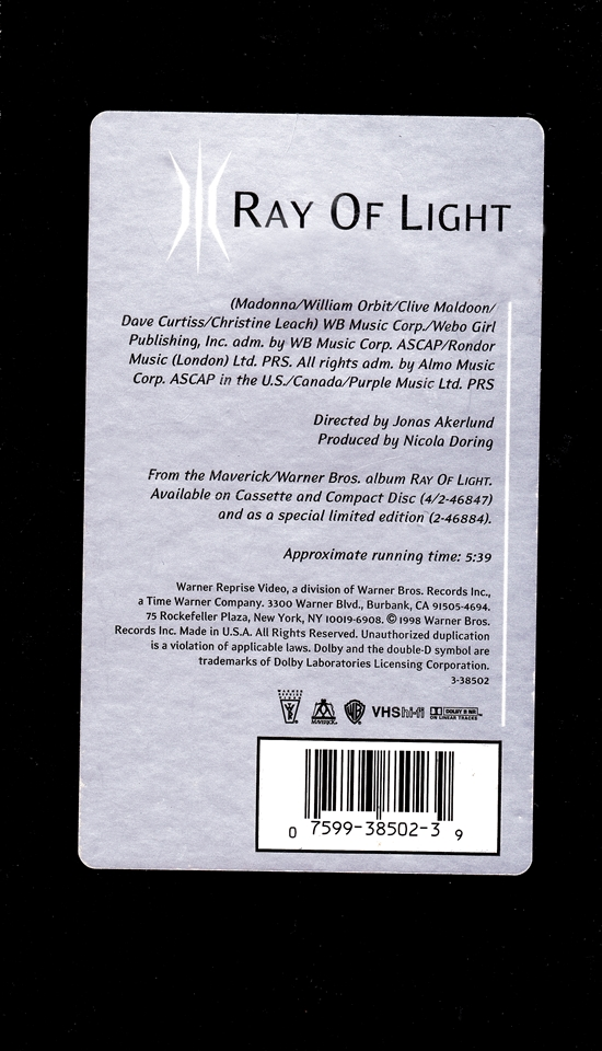 Ray Of Light Video Single_back cover 550