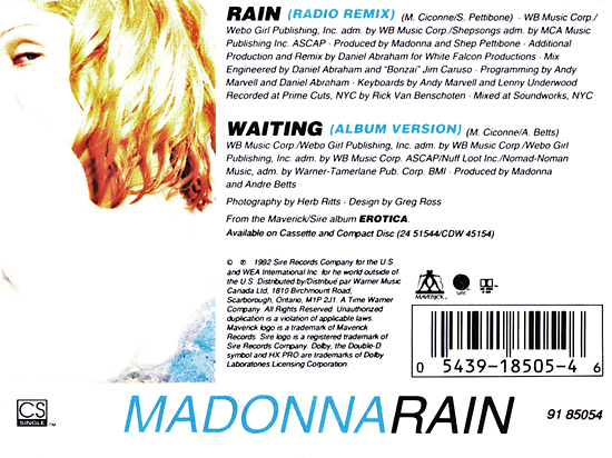 Rain Canadian Cassette Single Back Cover 2