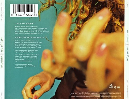 Ray of Light Canadian CD Single tray insert
