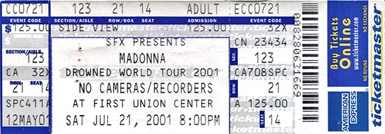 madonna dwt ticket philadelphia july 21 2001