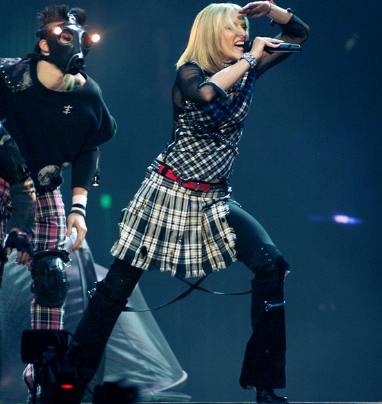 Madonna performing during the first show in the North American leg of her 'Drowned World Tour 2001' at the First Union Center in Philadelphia, Pa., 7/21/01. Photo by Frank Micelotta/ImageDirect.